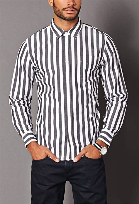 Forever 21 Vertical Striped Classic Fit Shirt in White
