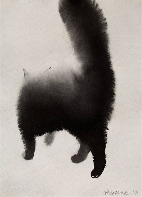 Striking Watercolor Paintings Of Mysterious Cats 'Blending