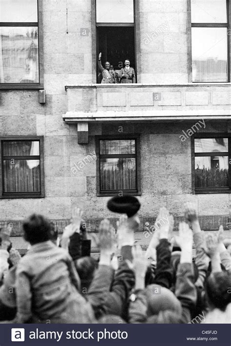 Mussolini with Hitler on the balcony of the Reich