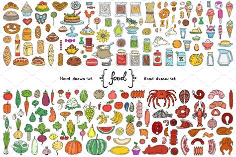 Vector set with food doodles ~ Graphic Objects ~ Creative