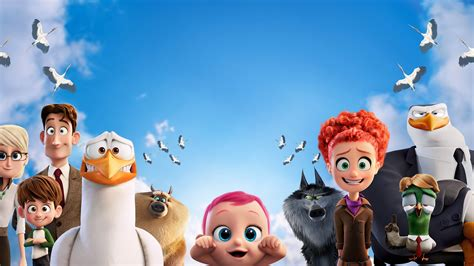Wallpaper Storks, baby, eagle, wolf, best animation movies