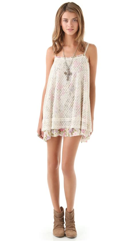 Free People Point Desprit Slip Dress in Ivory (Natural) - Lyst