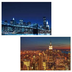 2x LED picture with lights Canvas Picture 60x40cm, Timer