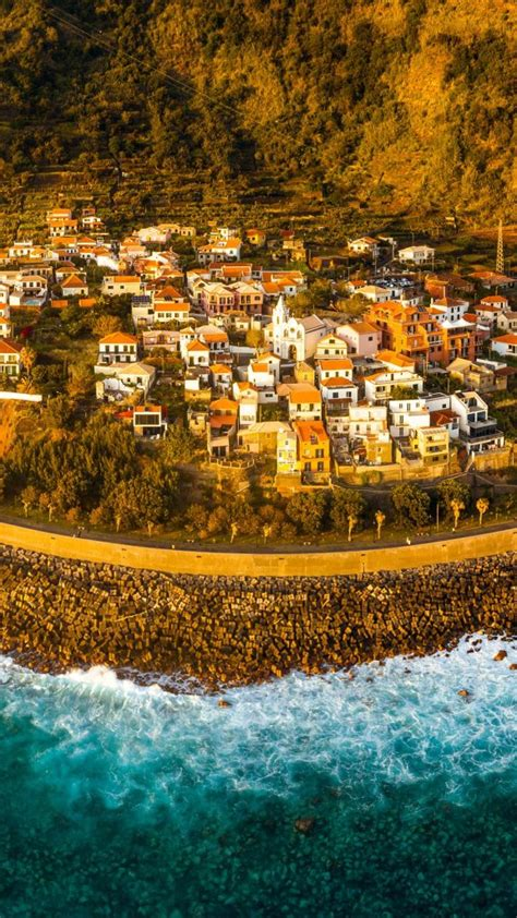 Aerial view of Jardim do Mar, surfing spot in Madeira