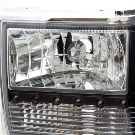 Ford Ranger 1989-1992 Black Euro Headlights with LED