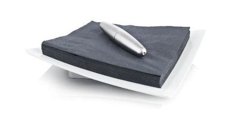 Vacu Vin Weighted Napkin Holder - White / Silver by Vacu