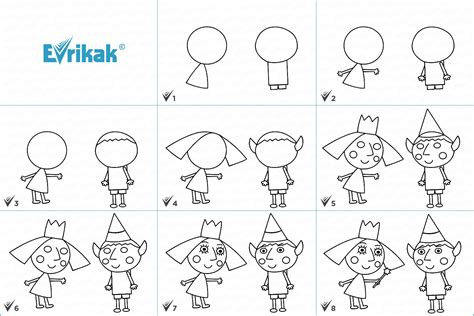 """How to draw the characters of the cartoon """"Ben and Holly's"""